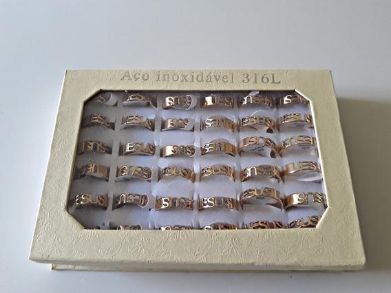 Atacado Estojo 36 Anéis Dourado Com Nome Jesus Aço Inox 316l