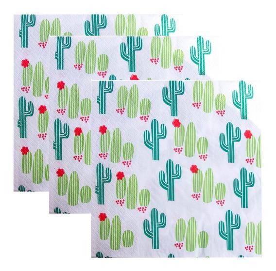 Servilletas Papel Cumpleaños Cactus Llama X24 Und.