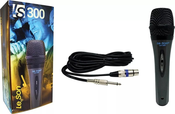 Microfone Dinâmico Leson Ls300 Com Fio 5 Mts Karaokê Vocal