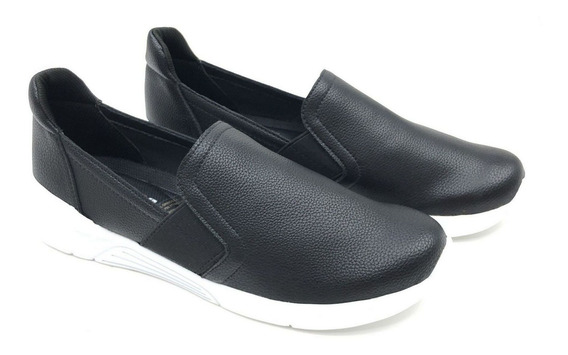 Tênis Piccadilly Slip On Casual Neoprene Preto Feminino