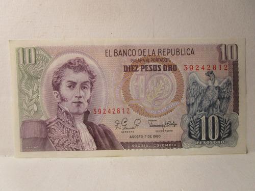 Imagen 1 de 4 de 10 Diez Pesos Oro Colombia Agosto 7 De 1980 39242812