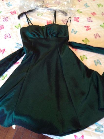 Vestido Em Tafetá Verde De Festa, Casamento E Formatura