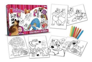 Set Para Colorear Y Borrar Masha Y El Oso Original Tapimovil