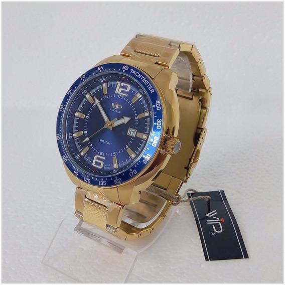 Relógio Masculino Dourado Vip Nautilus Original Prova Dágua