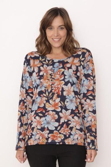 Sweater Talles Grandes Lanilla Estampado Flores Art 2750