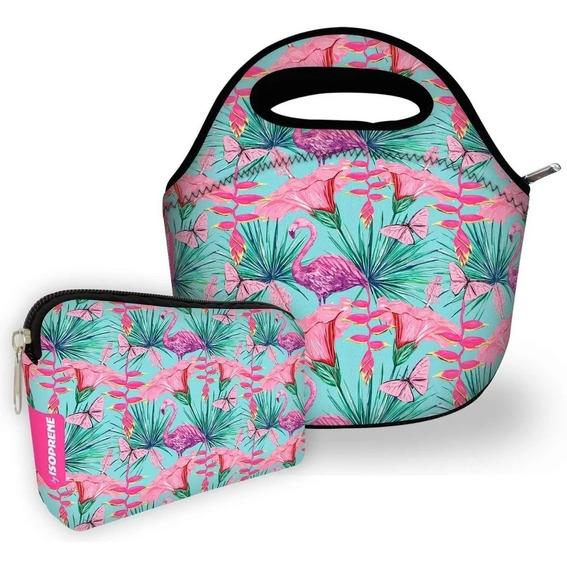 Kit Basic Isoflex Bolsa Com Necessaire Isoprene Flamingos
