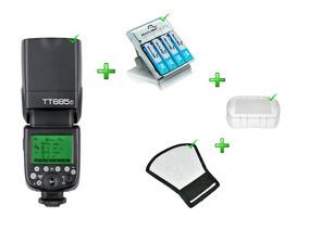 Kit Flash Tt-685f+rebatedor+difusor+carregador Pilha