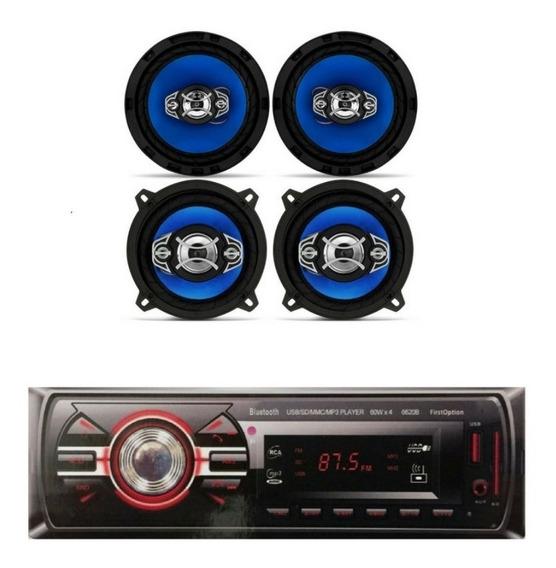 Kit Falante 5 E 6 Pol + Rádio Usb Bluetooth Gol G4 G5 G6 Fox