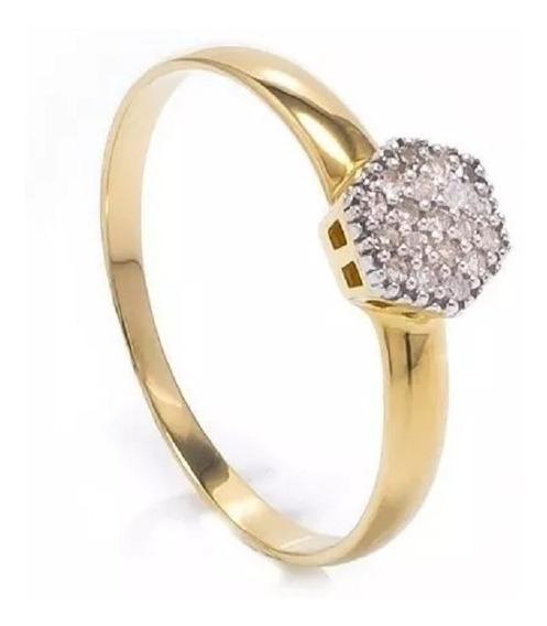 Anel Chuveirinho Hexagono Ouro 18k 750 Jsp1902