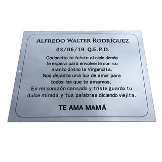 Placa Recordatoria Grabada En Metal Bronce, Homenaje. 30x20