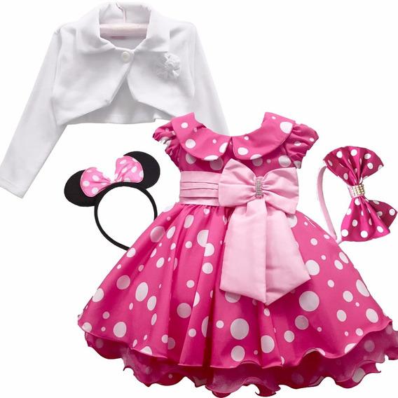 Vestido Minnie Rosa Pink Festa Luxo E Bolero E Tiaras Mini