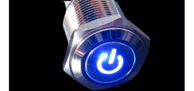 Chave Interruptor Metal 12v Led Azul 16mm