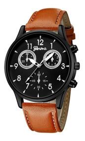 Relógio Masculino Geneva Couro Original Promoção Barato Top