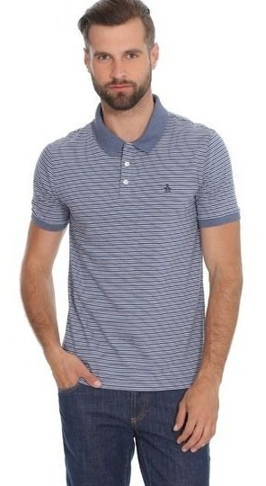 Polo Slim Fit De Líneas Tricolor Y Cárdigan Jaspe. Azul
