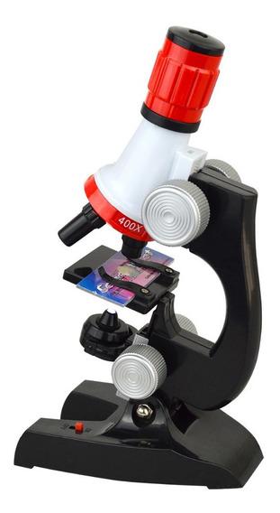Microscópio Educacional Monocular Biologia 100x 400x 1200x