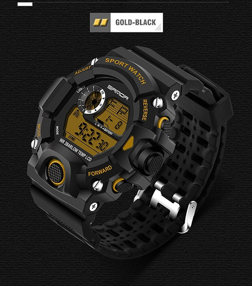 Reloj Original Sanda Negro Con Amarillo (gold)