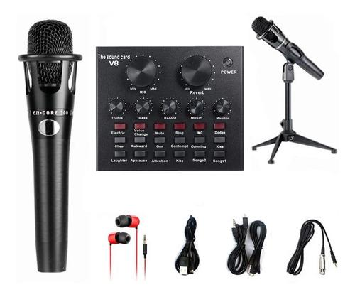 Imagen 1 de 9 de V8 Tarjeta De Sonido En Vivo Micrófono Set 12 Efectos De Son