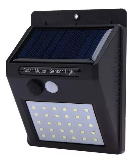 Refletor De Led Solar De Parede Com Sensor Movimento 30 Led