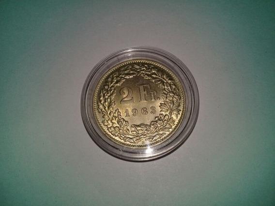 Moneda 2 Francos Suiza 1963 De Plata Sin Circular En Capsula