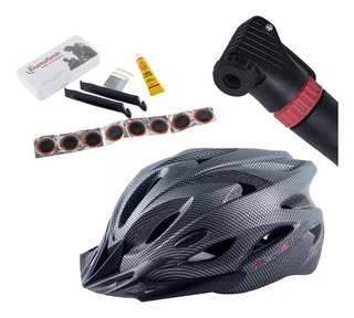 Pack Bicicleta Casco Wolfbase Carb + Bombin + Set Parches Mt
