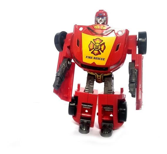 Carro Brinquedo Bombeiro Resgate Transforme Robo Autobot