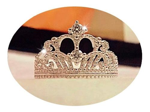 Imagen 1 de 6 de Anillo De Corona Ajustable Para Mujer Plata Ley .925
