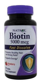 Biotina 5000mcg 90 Cap Fast Dissolve Natrol Cabelo Unha Pele