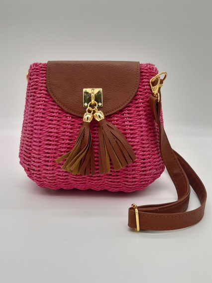 Bolsa Estruturada Transversal Pink Rattan Tendência Verão