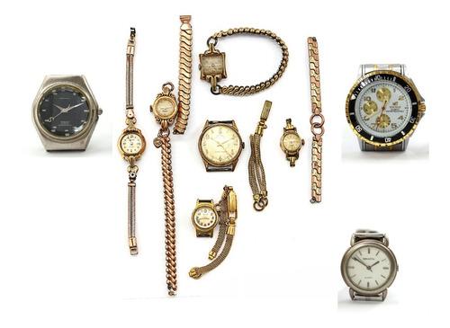 Lote 9 Relógios Variados De Metal Com Defeito Coleção J23225