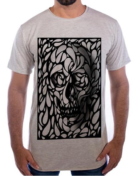 Camiseta Longline Swag Oversized Estampada Camisa Confusion Caveira Mexicana Flores
