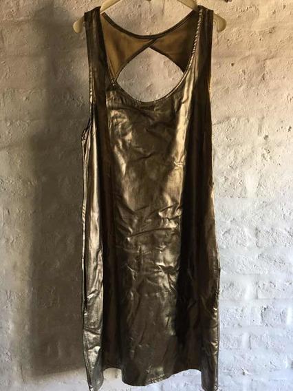Vestido Fiesta Dorado Peltre Marca Lúcuma Talle 40 Con Cinto