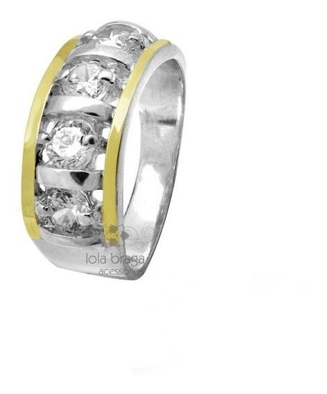 Anel Feminino Prata 950 2 Apliques Ouro 4 Pedras Zircônias