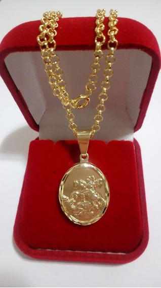 Colar 45cm Com Pingente De São Jorge Folheada A Ouro18kilats