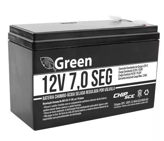 Bateria 12v 7a Selada Para Nobreak Alarmes Cerca Elet. Green