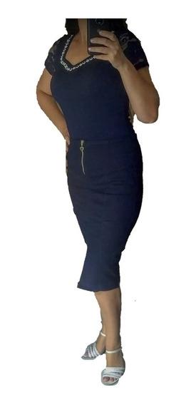 Conjunto Saia Jeans Ziper Feminino Blusa Crepe Evangelica