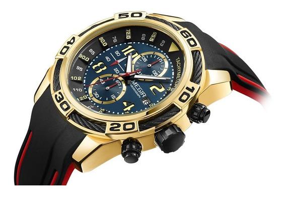 Relógio Masculino Megir Quartz Funcional Pulseira Silicone