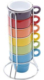 Jogo 6 Xícaras De Café 60ml Coloridas Com Suporte