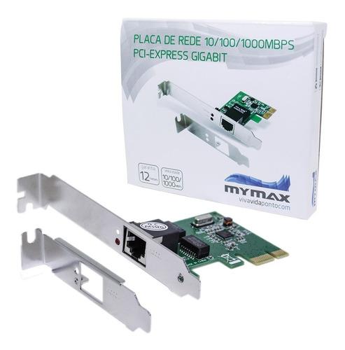 Imagem 1 de 6 de Placa De Rede 10/100/1000mbps Pci Express Gigabit Mymax Nfe