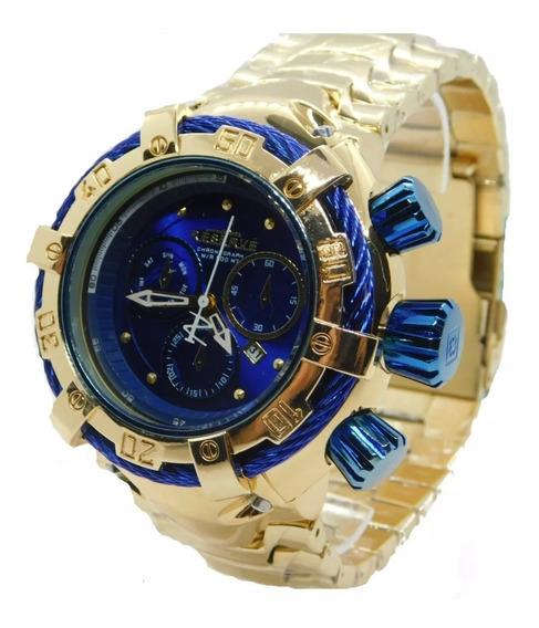 Relógio Masculino Dourado E Azul Novo Pesado Importado Luxo