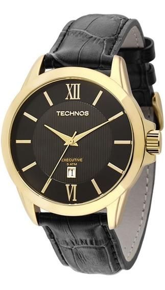 Relógio Technos Masculino Executive 2115knh/0p Dourado Couro