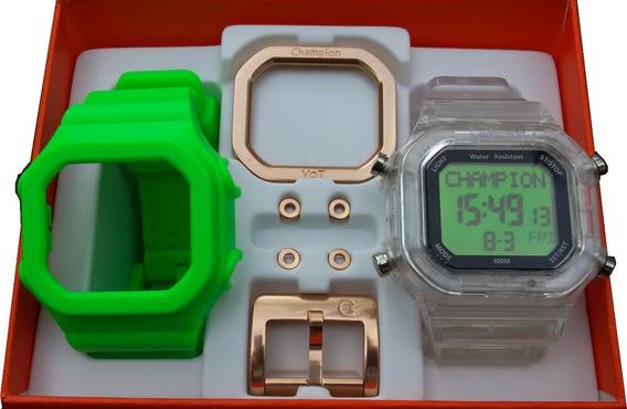 Relógio Cp40180x Champion Yot Original Original Fundo Verde