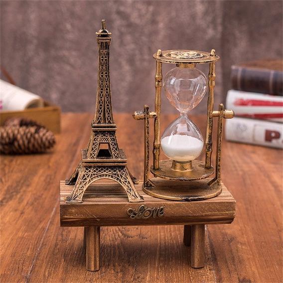 Ampulheta Rotativa Vintage, Paris Torre Eiffel Decoração Par