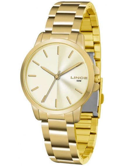 Relógio Lince Dourado Feminino Pequeno Lrg4482l C1kx