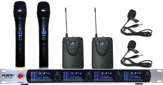 Microfone Sem Fio Ksr Pro Quadruplo Lapela E Mão