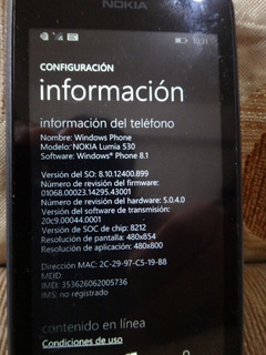 Nokia Lumia 530 Liberado, Sin Cargador (40$)