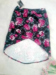Falda Mujer Asimetrica Floral