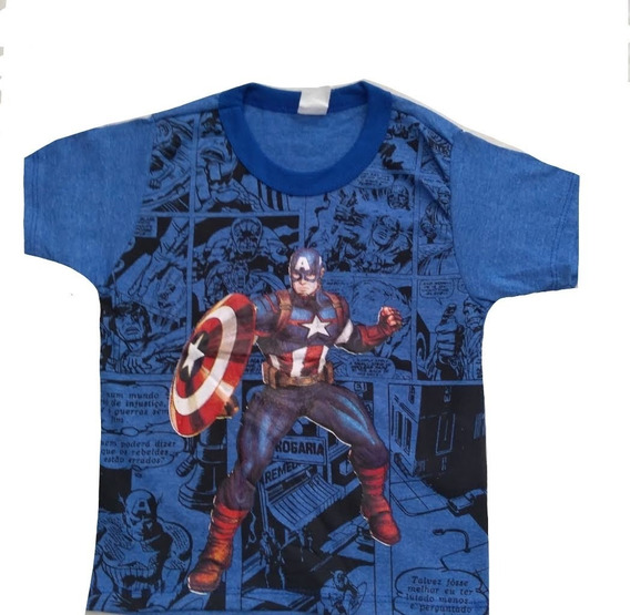 Kit Atacado C/10 Camiseta Infantil Menino Personagens Herois