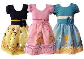 Kit 5 Vestido Temático Infantil 1 A 7 Anos Personagem Tema