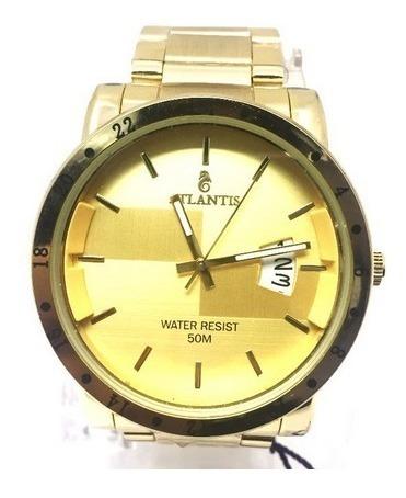 Relógio Masculino Dourado Luxo Atlantis G3242 Calendário