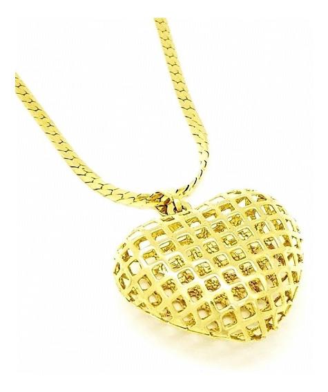 Cordão Com Pingente Coração Vazado Banho Ouro 18k 3120 3098
